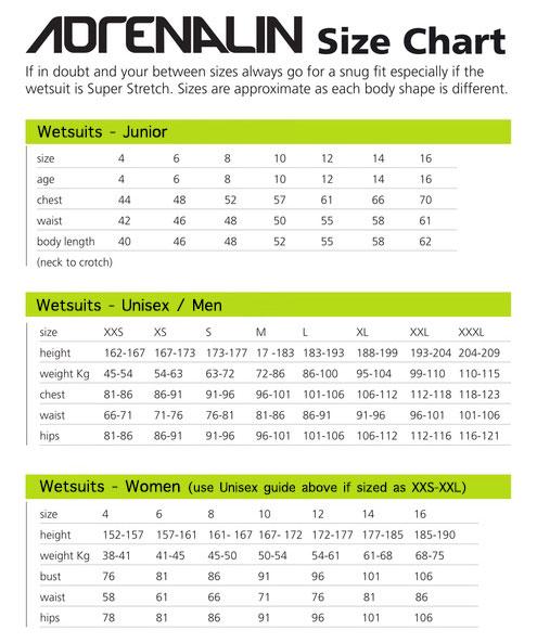 Size Guides \u2013 Wetsuit Warehouse