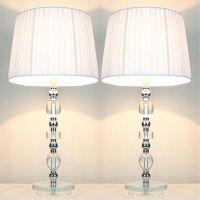2 Vintage Bedside Table Glass Base Lamps w Shades | Buy ...