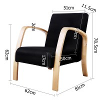 Artiss Wooden Armchair with Cushion - Black | Buy ...