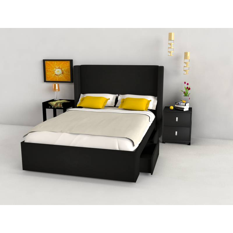 Cradle Black Queen Bed Frame with Storage Drawers