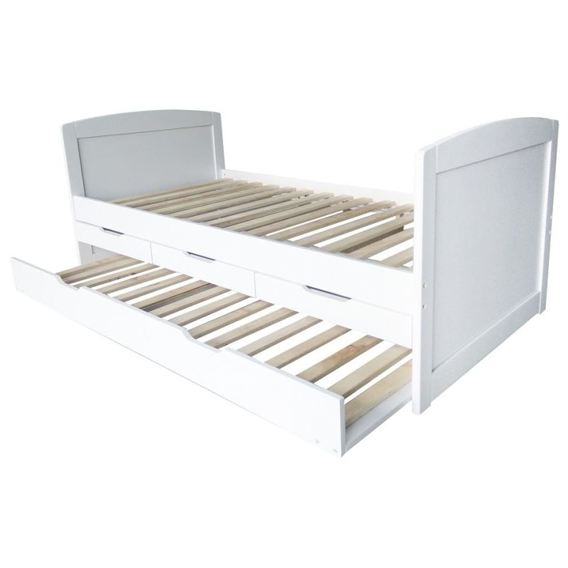 Varinia Single Pine Wood Trundle Bed Frame In White Buy