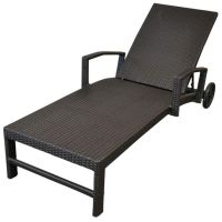 Miami Outdoor Sun Lounge Bed w/ Wheels in Charcoal | Buy ...