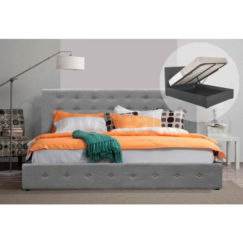 Hendrix King Fabric Gas Lift Bed Frame Light Grey Buy