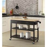 Kitchen Island Trolley With Open Shelves - Black | Buy ...