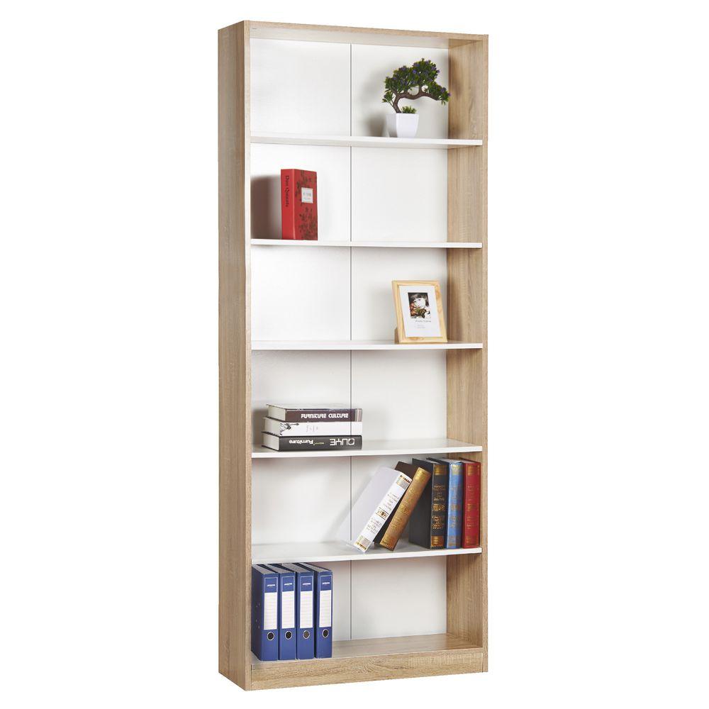 Austin 6 Shelf Bookcase Oak and White