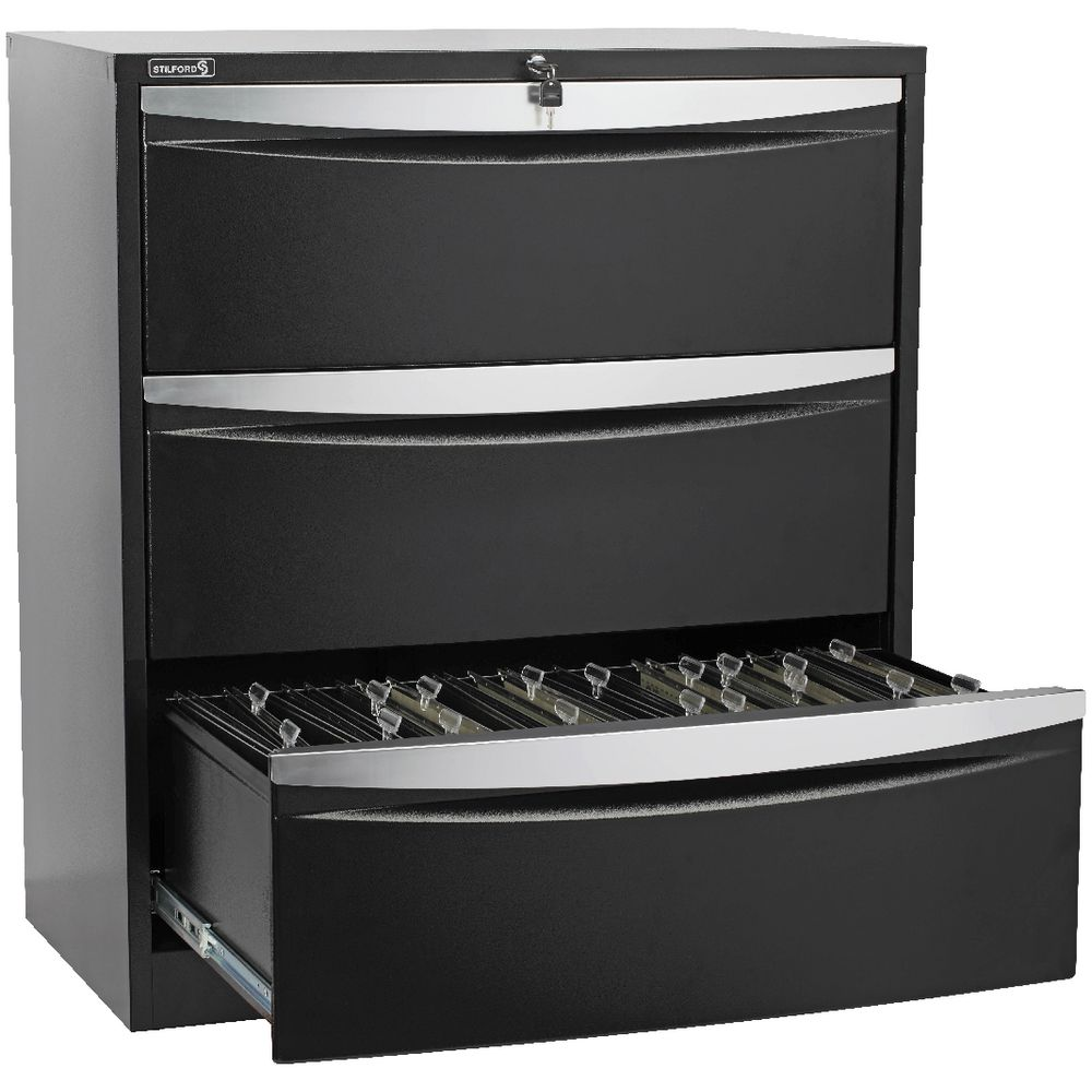Stilford 3 Drawer Lateral Filing Cabinet Black