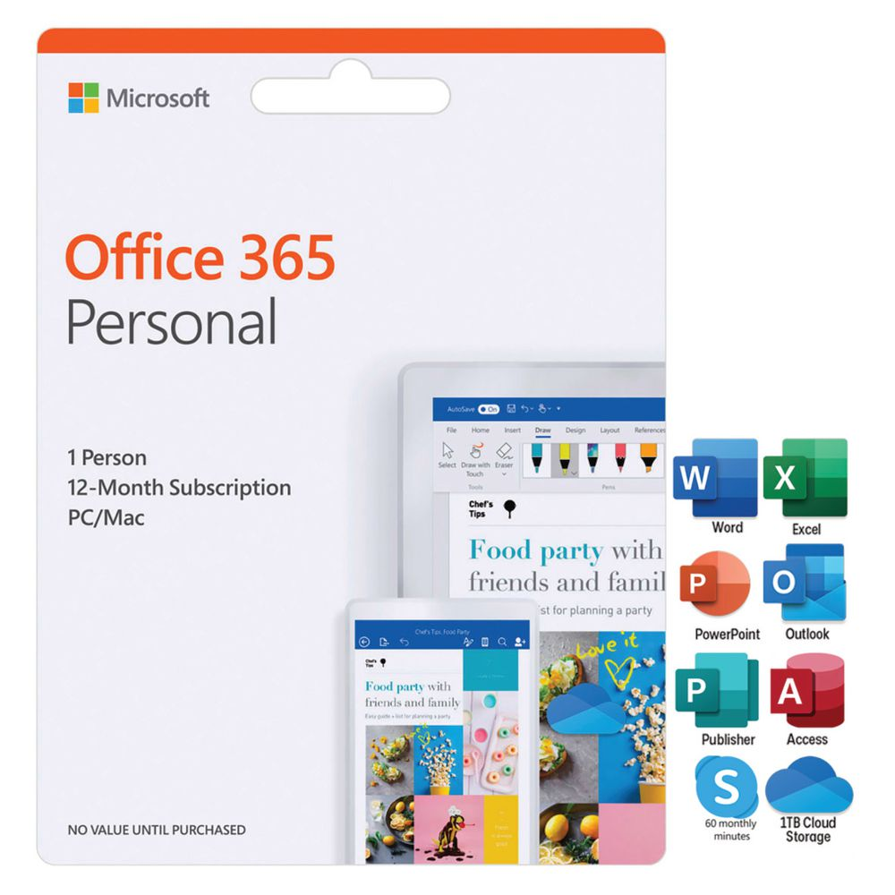 Mircrosoft Office 365 Microsoft Office 365 Personal 1 Person 12 Months Card
