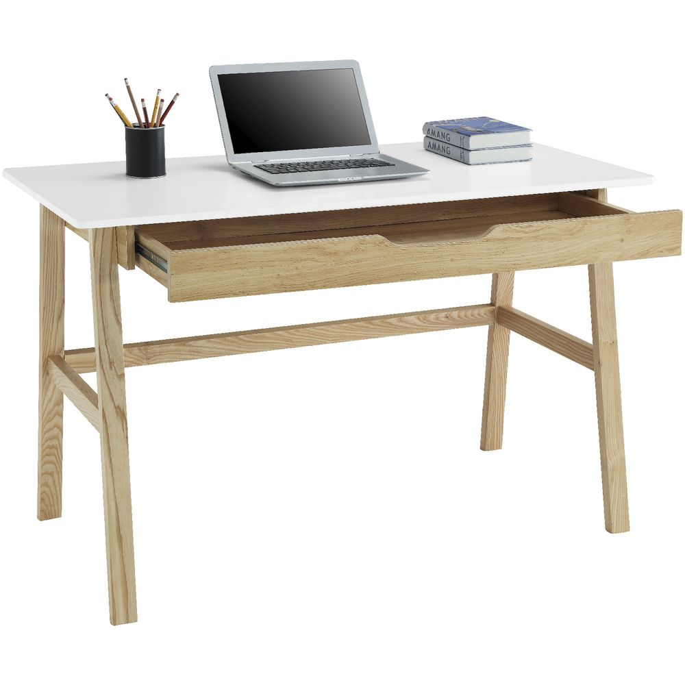 Timber Computer Desk Arken Solid Timber Single Drawer Desk White Oak Officeworks