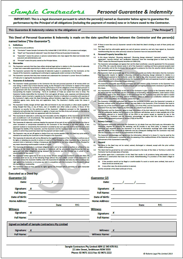 Effective Business Contract Document Package - Contractors \ Suppliers - deed of indemnity
