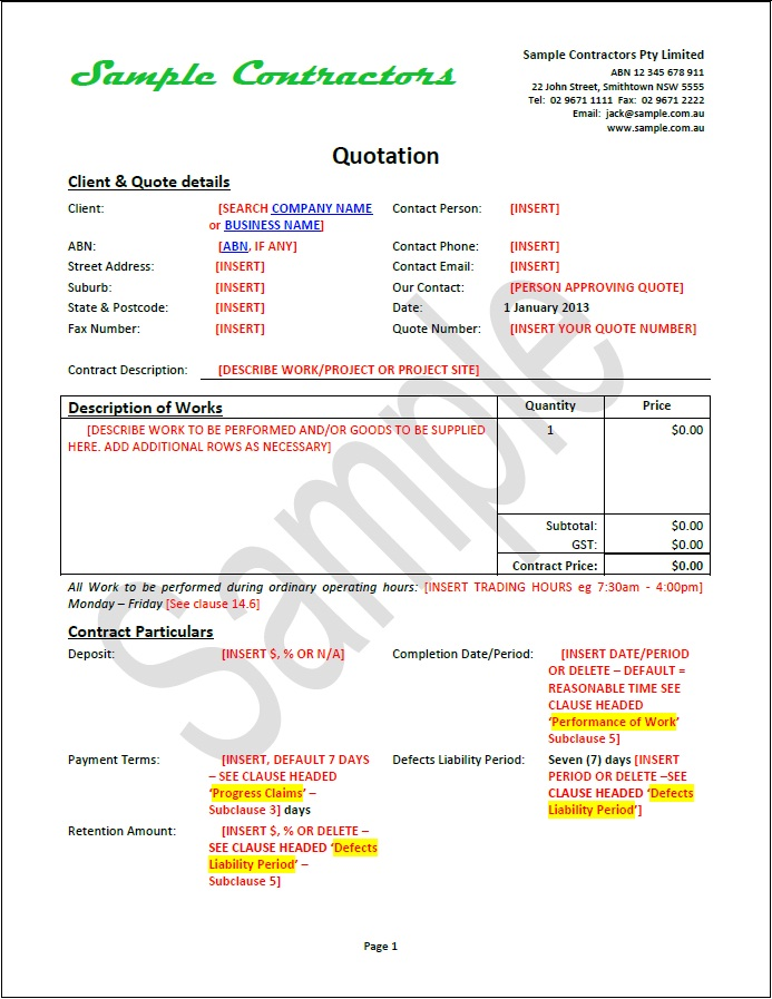 terms and conditions of quotations template