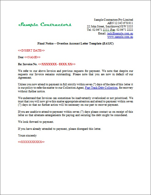 Sample Final Notice Letter Sample Notification Letter To - final notice template