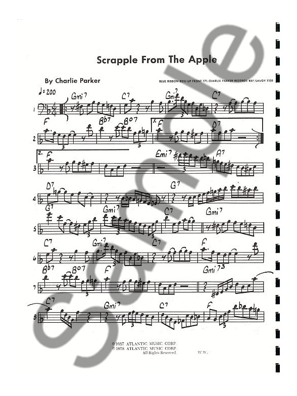 Charlie Parker Omnibook (Bass Clef Instruments) - Bass Clef - bass cleff sheet music