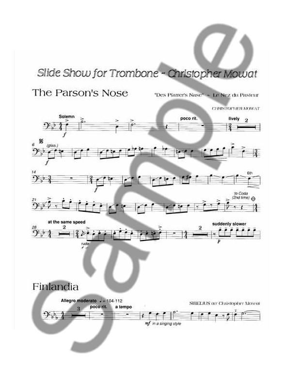 Slide Show For Trombone Bass Clef - Piano Accompaniment Sheet Music - base cleff
