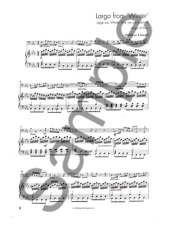 From Vivaldi To Fats Waller (Trombone Bass Clef) - Piano - bass cleft sheet music