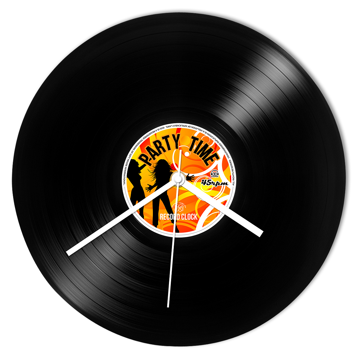 Schallplatten Deko Wand Wanduhr Vinyl Schallplatte Party Time Retro Record Clock