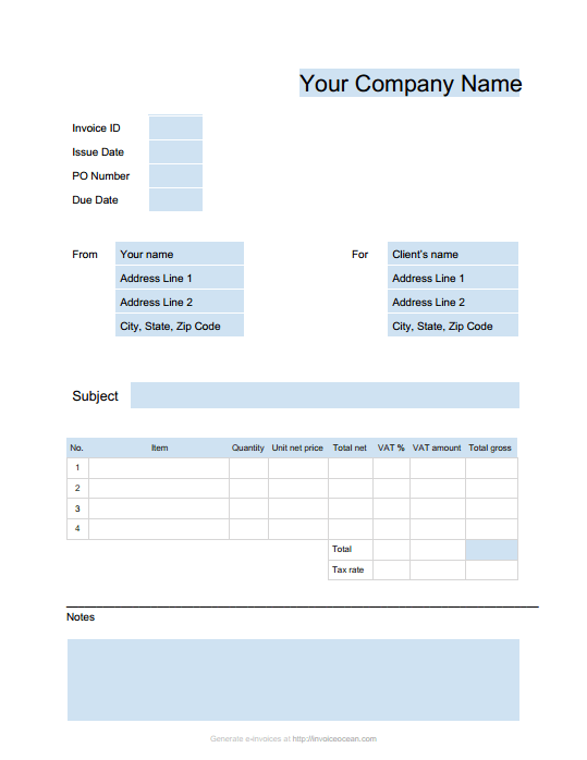 blank invoice template uk word | sample resume service, Invoice examples