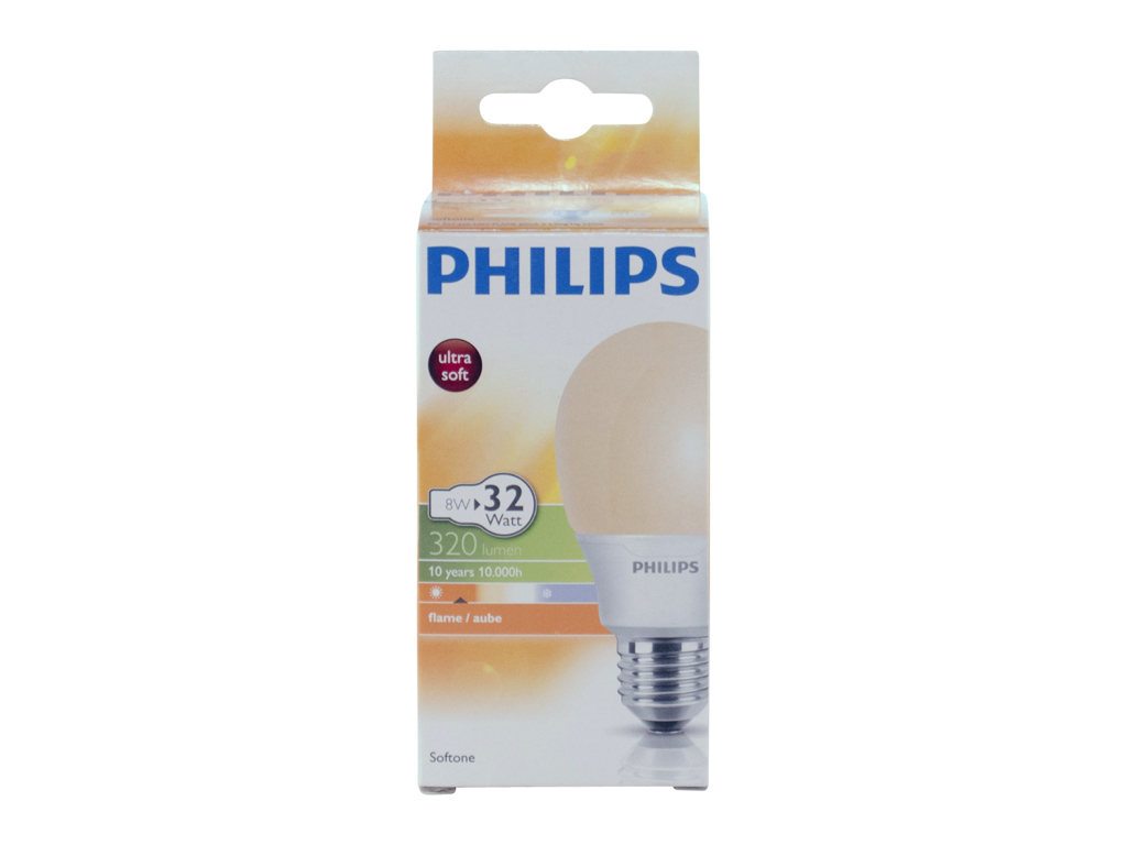 Philips Softone Flame Philips Softone Spaarlamp 8 W E27 Flame