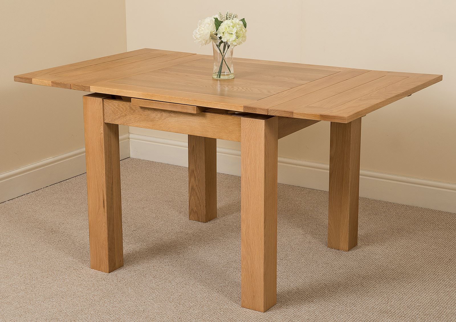 Diy Extendable Dining Table Richmond Solid Oak Wood Small 90 150cm Extending Dining