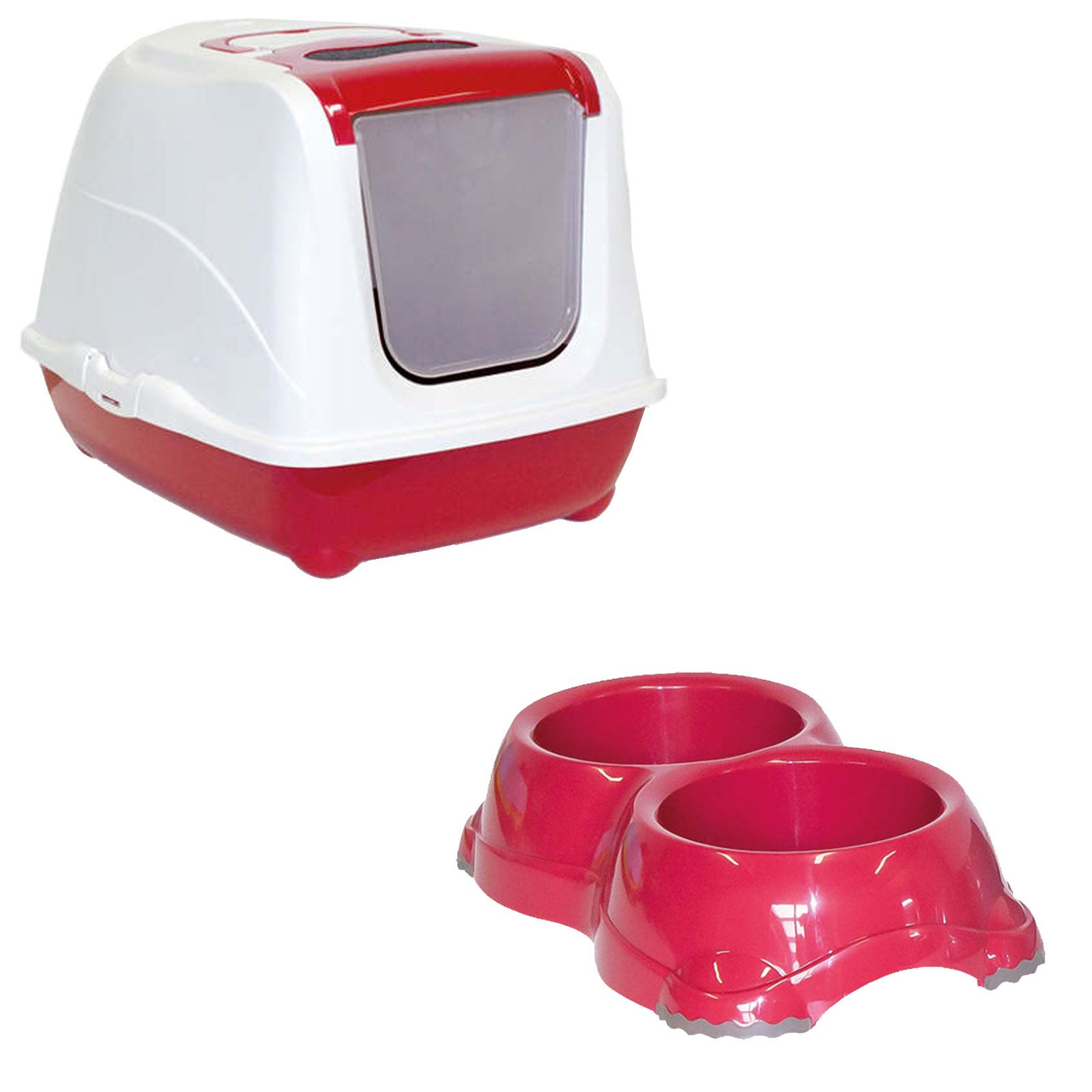 Cat Flip Litter Tray Double Bowl 6 Colours Box Hooded