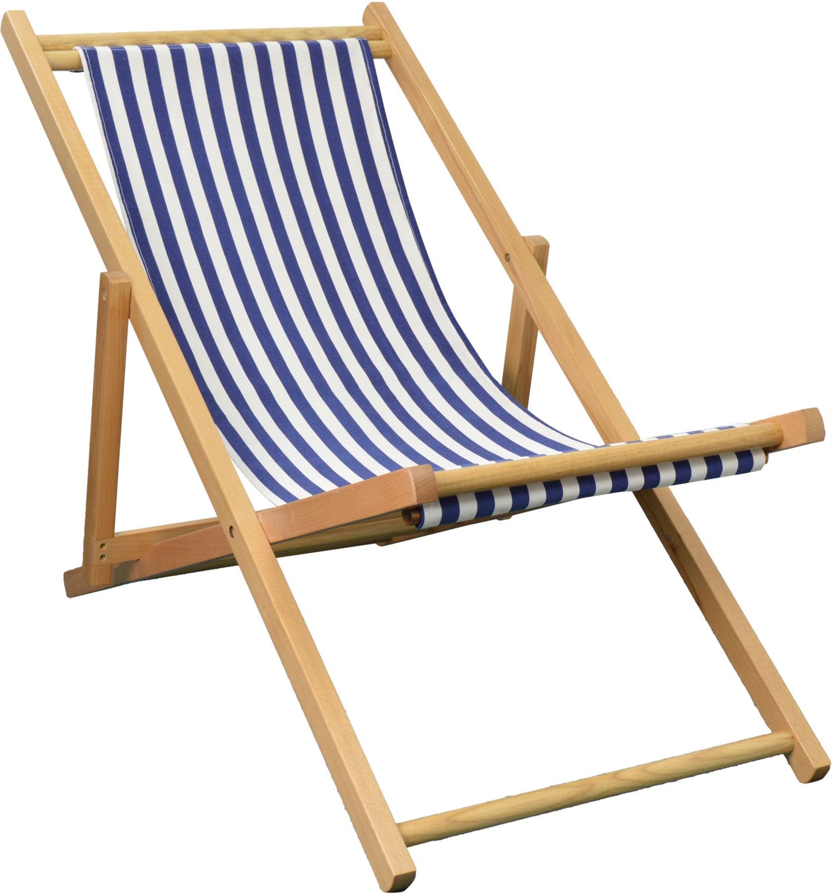 Folding Wooden Deckchair Garden Beach Seaside Deck Chair