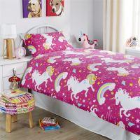 Unicorn Duvet Cover Set, Girls Quilt Cover Unicorn Bedding