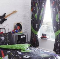 Guitar Rock Star Boys Teen Black Reversible Duvet Cover