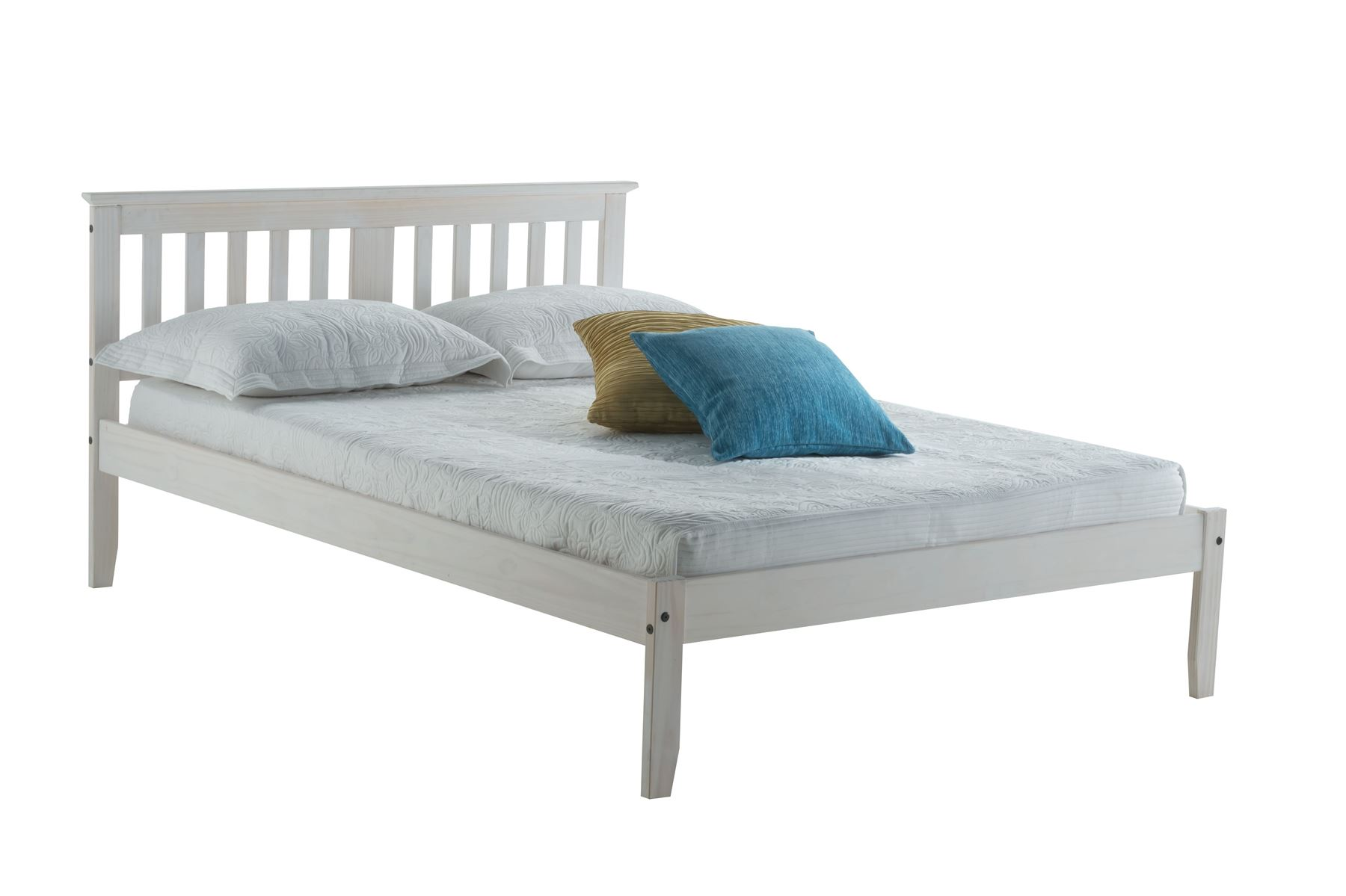White Wooden Small Double Bed Birlea Small Double Salvador Solid Pine 4ft 120cm Wood Bed