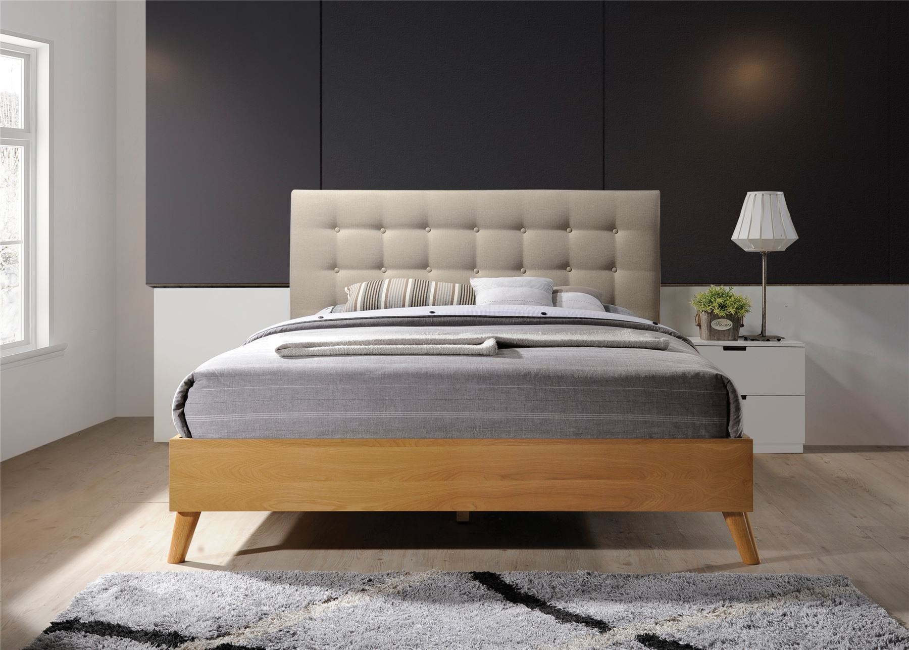 Scandi Style Bedding Gino Bed Frame Beige Fabric Oak Wood King Size 5ft 150cm