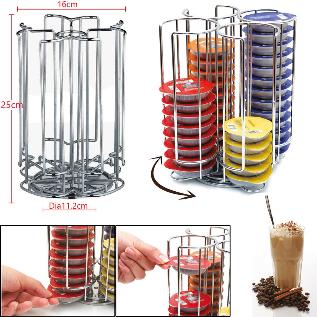 Tassimo Ou Dolce Gusto Royaume-uni Tournant Capsule Café Pod Support Stand Rack