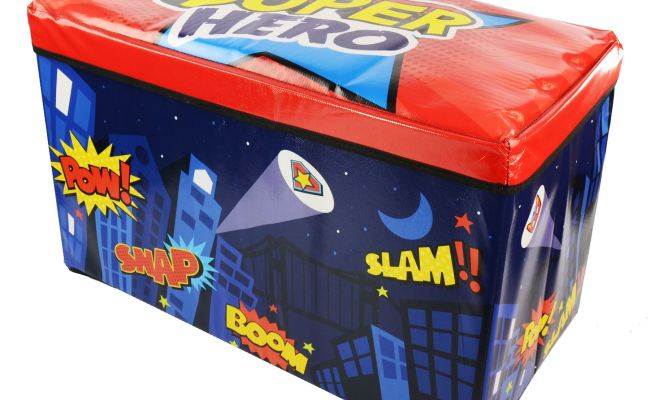 Boys Girls Kids Large Folding Storage Toy Box Books Chest