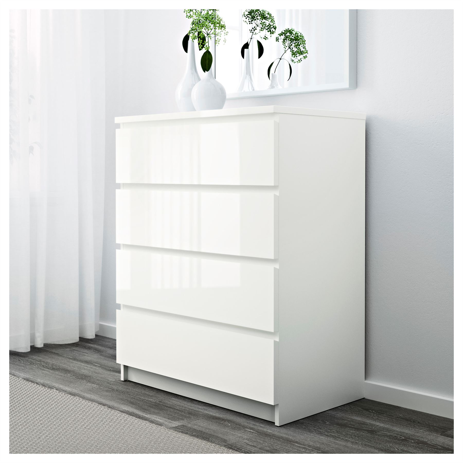 White Gloss Drawers Ikea Malm Chest Of 4 Drawers 80x100cm White High Gloss