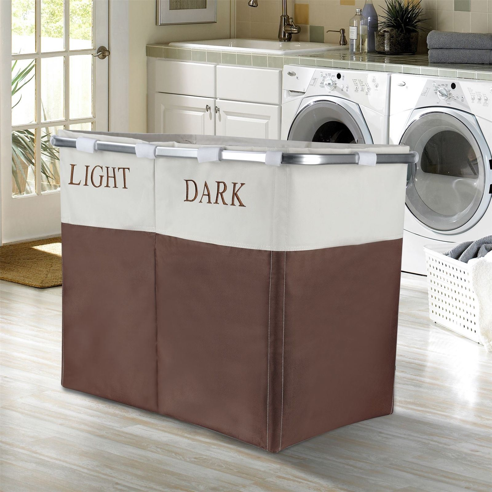 4 Compartment Laundry Basket Vinsani Light And Dark 2 Section Folding Laundry Sorter