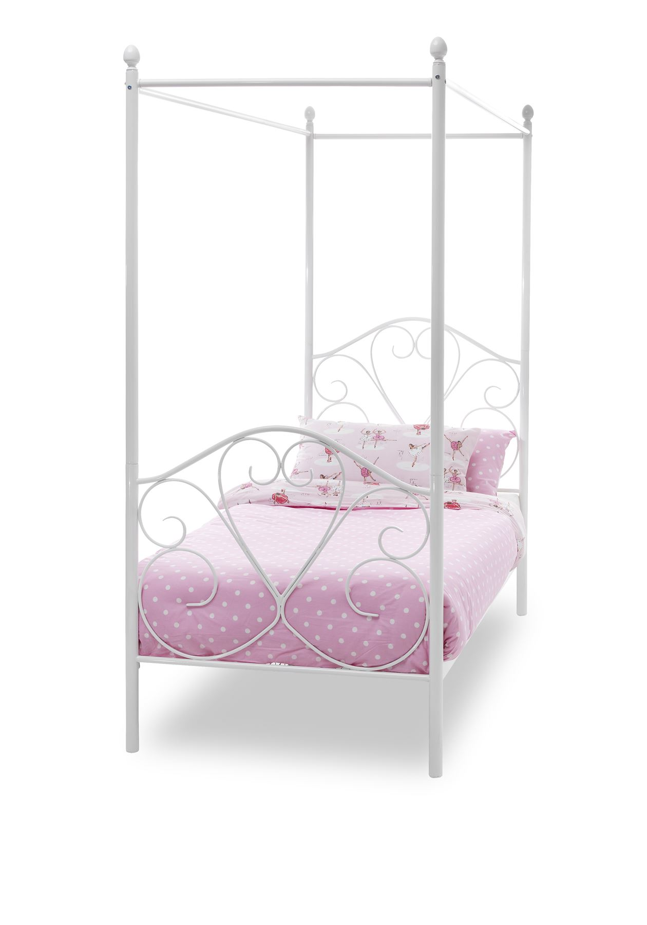 Single Four Poster Bed Details About Isabelle 3ft 90cm Metal Four Poster Post Bed Single White