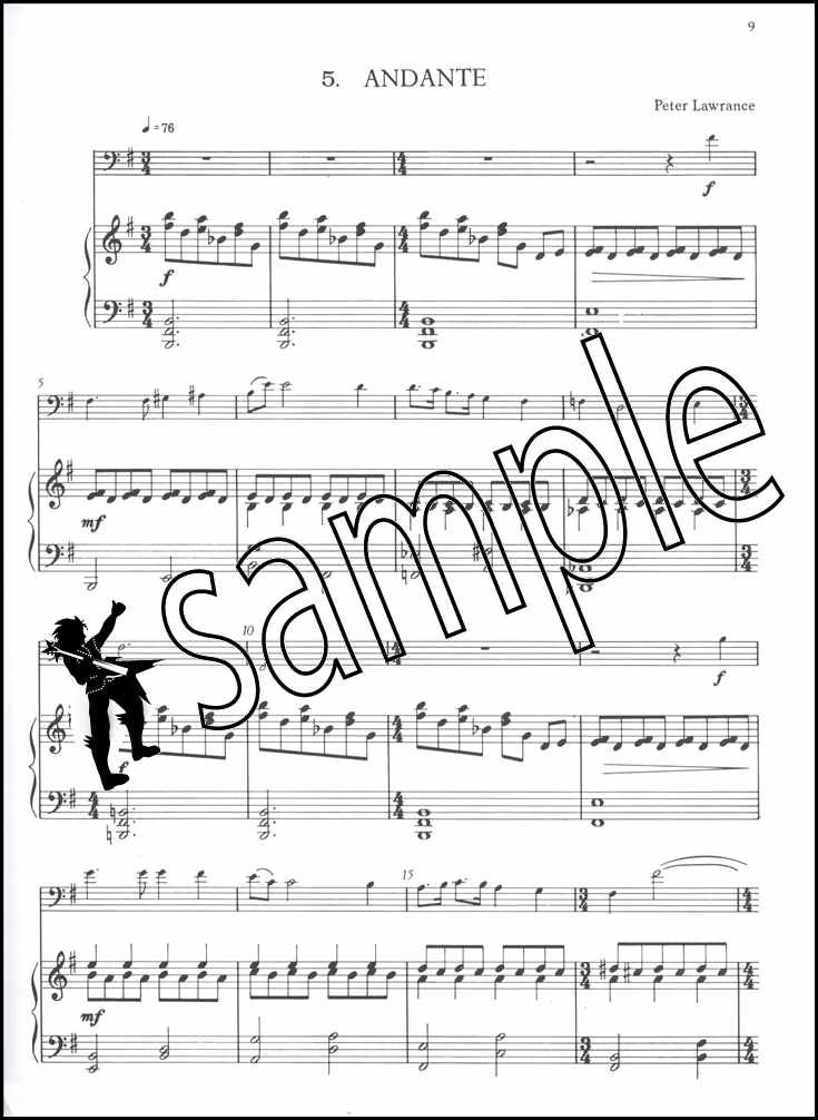Badinage for Trombone or Euphonium Bass Clef Sheet Music Book with