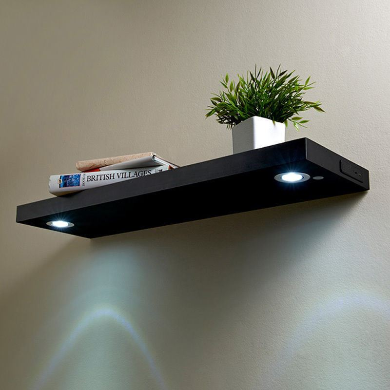 Modern Rechargeable Led Floating Shelf Illuminated Wooden