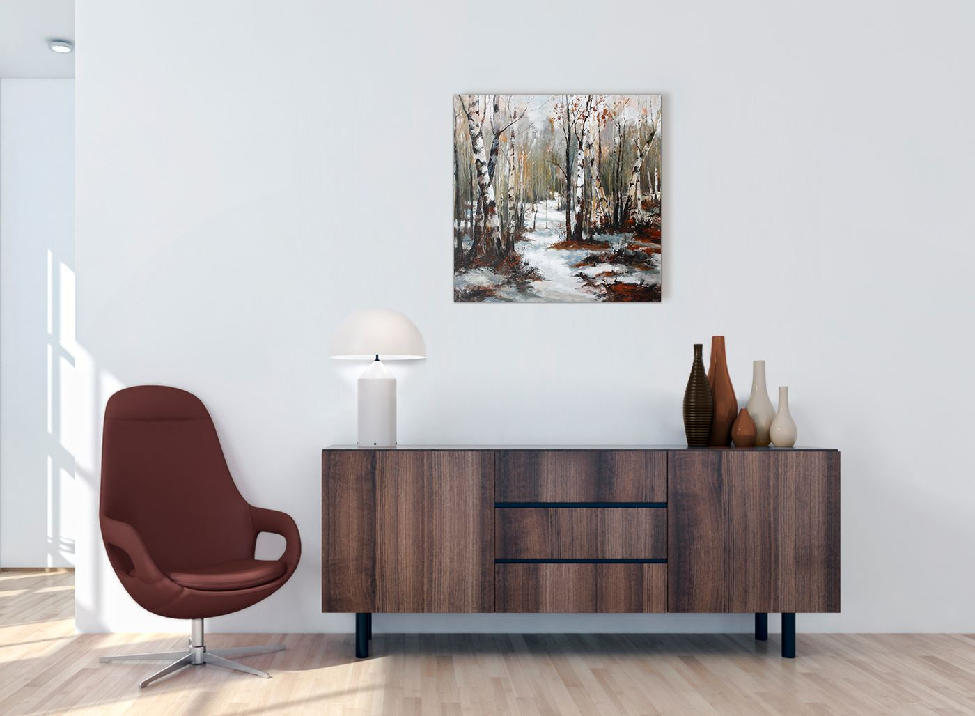 Woodland Winter Trees Forest Scene Landscape Canvas Modern 49cm Square 1s295s