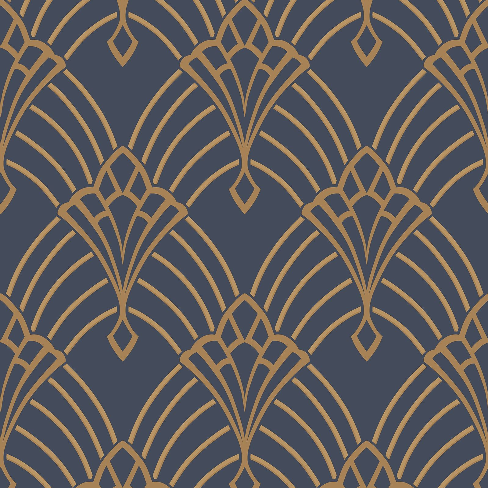 Art Deco Stile Astoria Art Deco Wallpaper Dark Blue Gold Rasch 305340