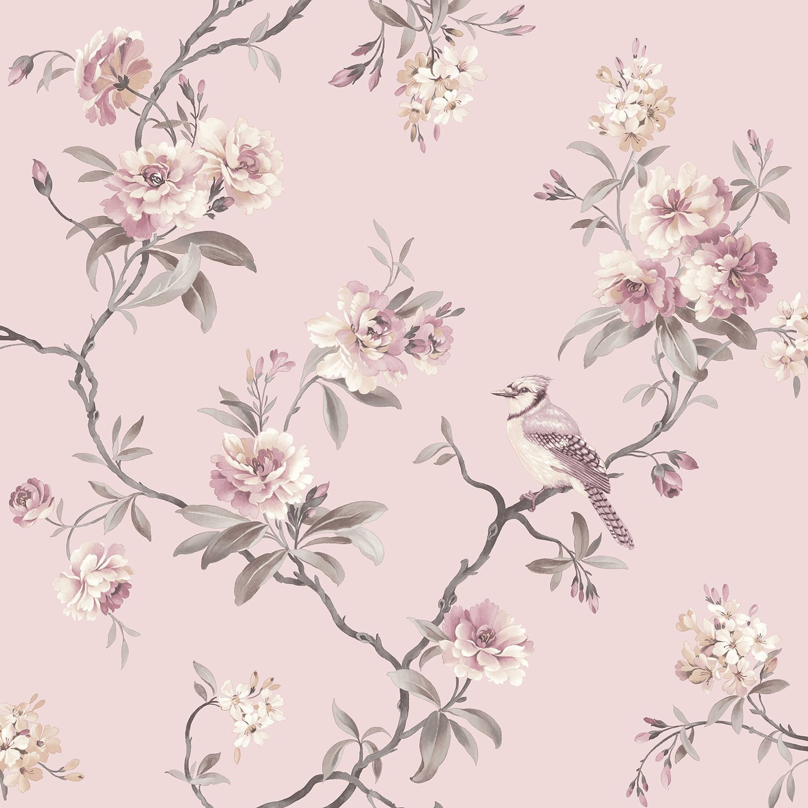 Liverpool Live Wallpaper Iphone Fine Decor Chic Floral Chinoiserie Bird Wallpaper In Grey