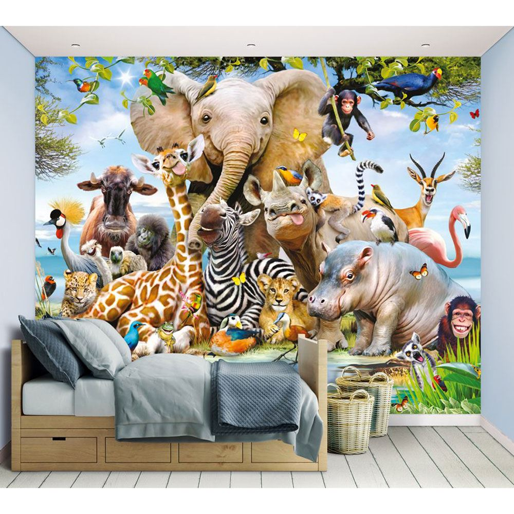 Déco Murale Diy Details About Walltastic Jungle Safari Animals Wall Mural Wallpaper Kids 2 44m X 3 05m