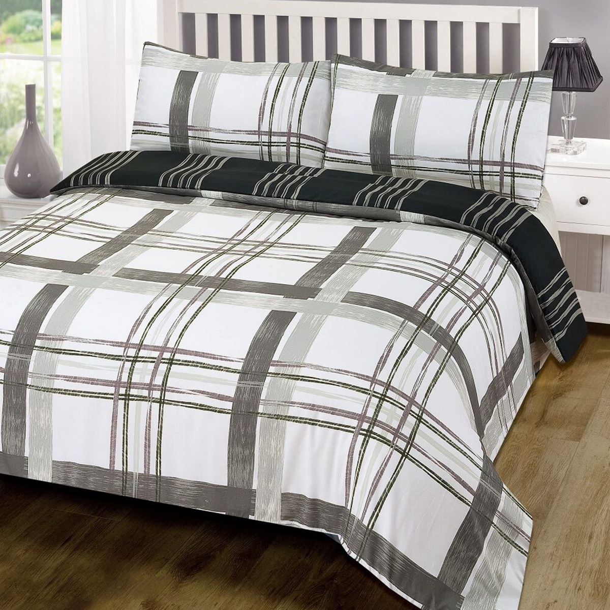 Black White And Grey Duvet Covers Poole Grey Check Double Duvet Cover Set Reversible Bedding