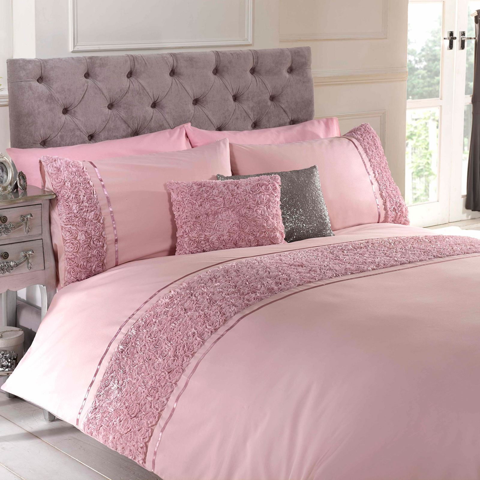 Blush Pink Quilt Cover Details About Limoges Rose Ruffle Blush Pink Super King Size Duvet Cover Pillowcase Set