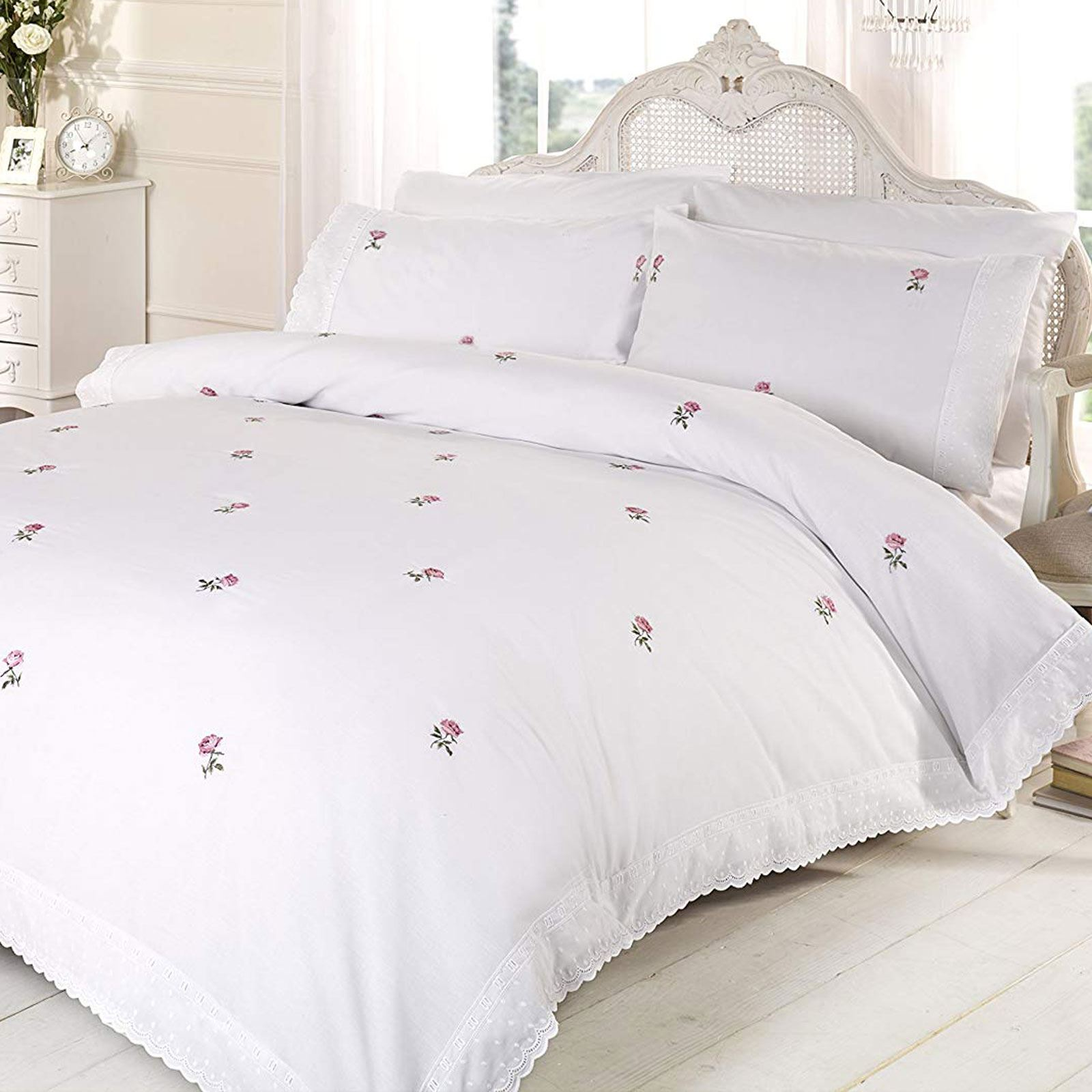 Black Friday Bettwäsche Details About Alicia Floral White Pink Double Duvet Cover Set Embroidered Bedding