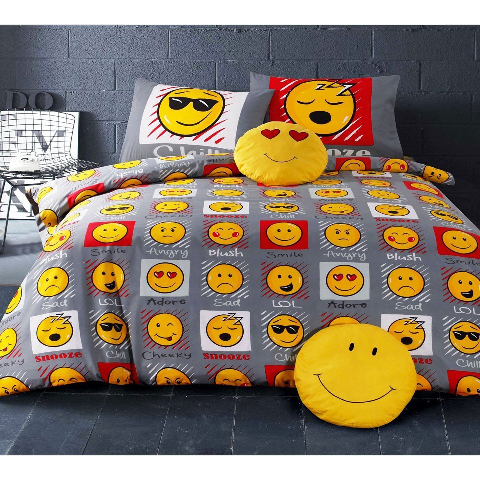 Emoji Duvet Cover Sets Single Double Funny Smiley