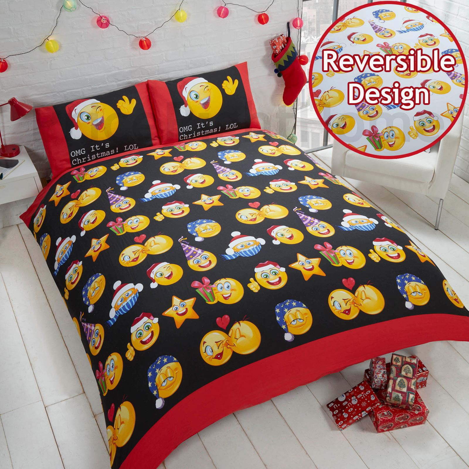 Dessin Lit Double Emoji Duvet Cover Sets Single And Double Funny Smiley