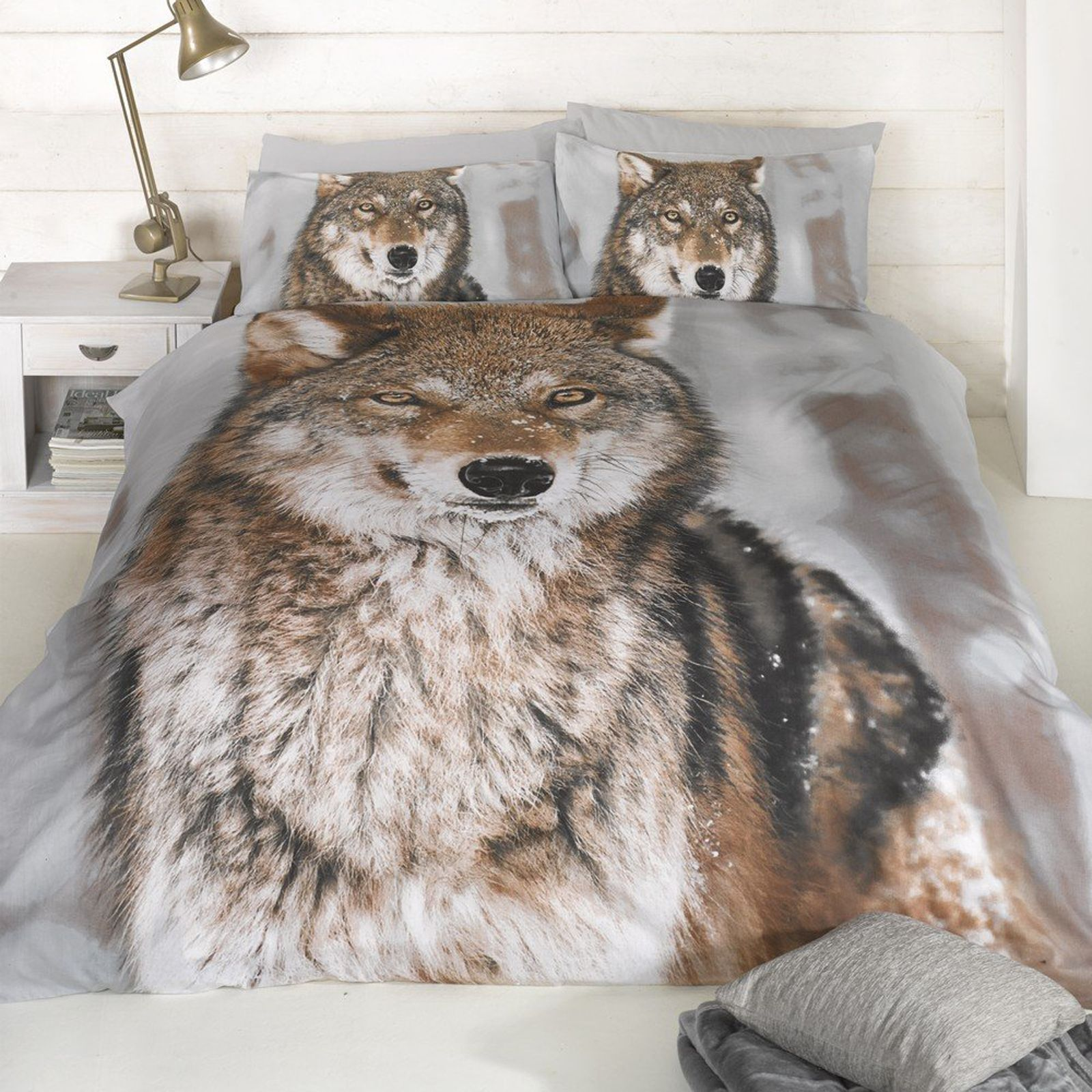 Wolf Print Design Kingsize Duvet Cover New King Size