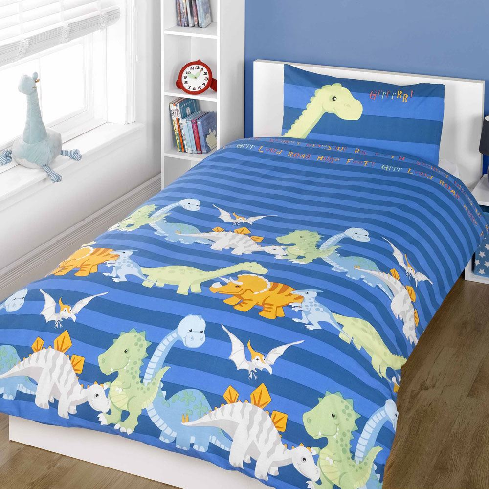 Boys Double Quilt Cover Details About Dinosaurs Double Duvet Cover Set Boys Bedding New Blue