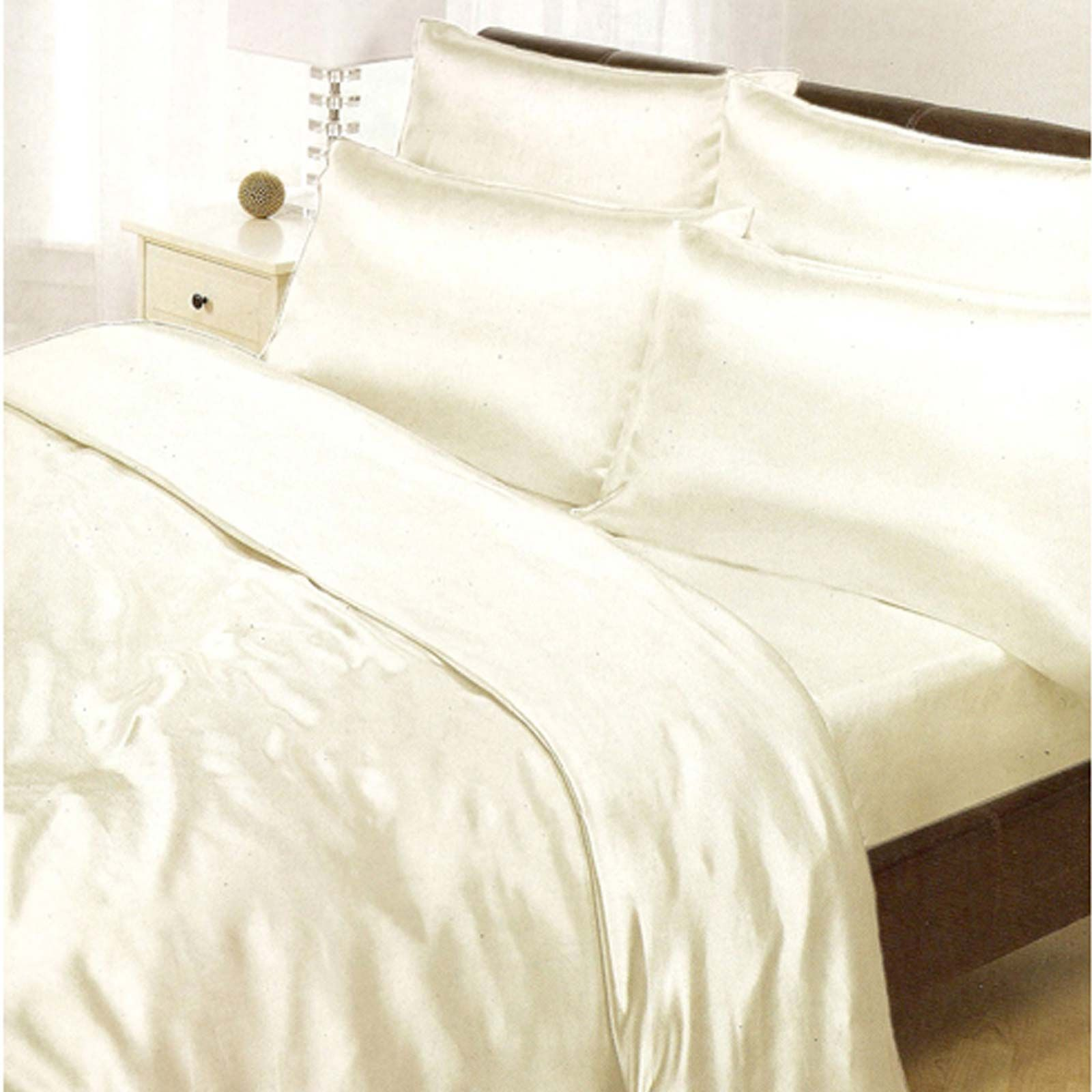Satin Duvet Cover Details About Cream Satin Single Duvet Cover Fitted Sheet 2 X Pillowcases Set New Bedding