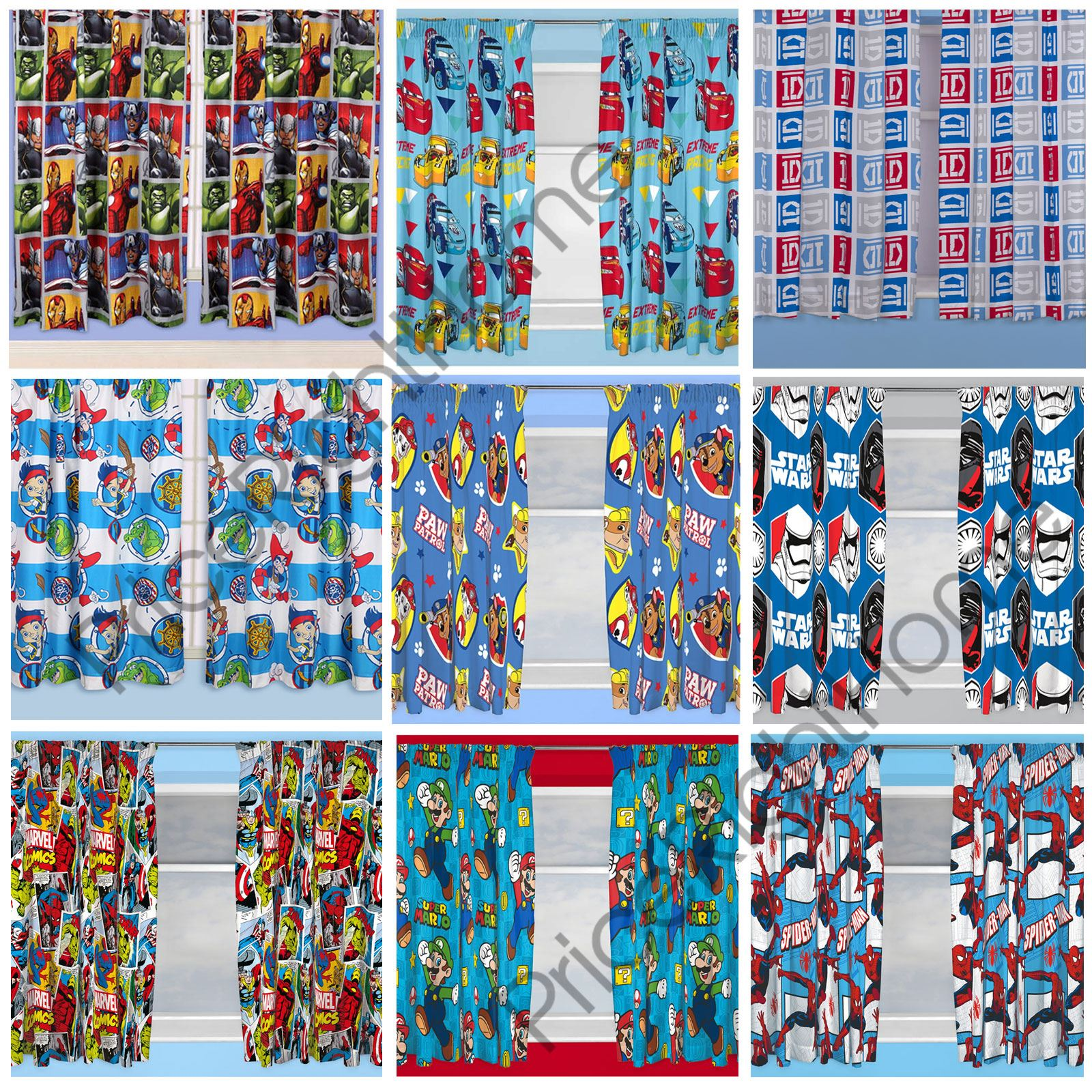 Tappeto Spiderman Ebay Boys Bedroom Character Curtains Marvel Star Wars Paw