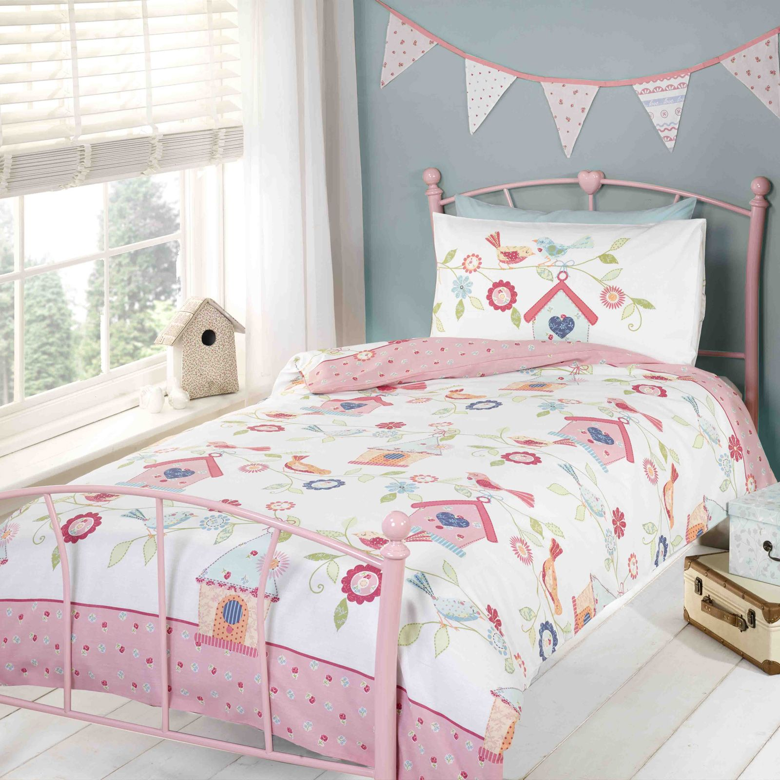 Pink Duvet Cover Details About Bird Houses Girls Single Duvet Cover Set Reversible Pink Kids