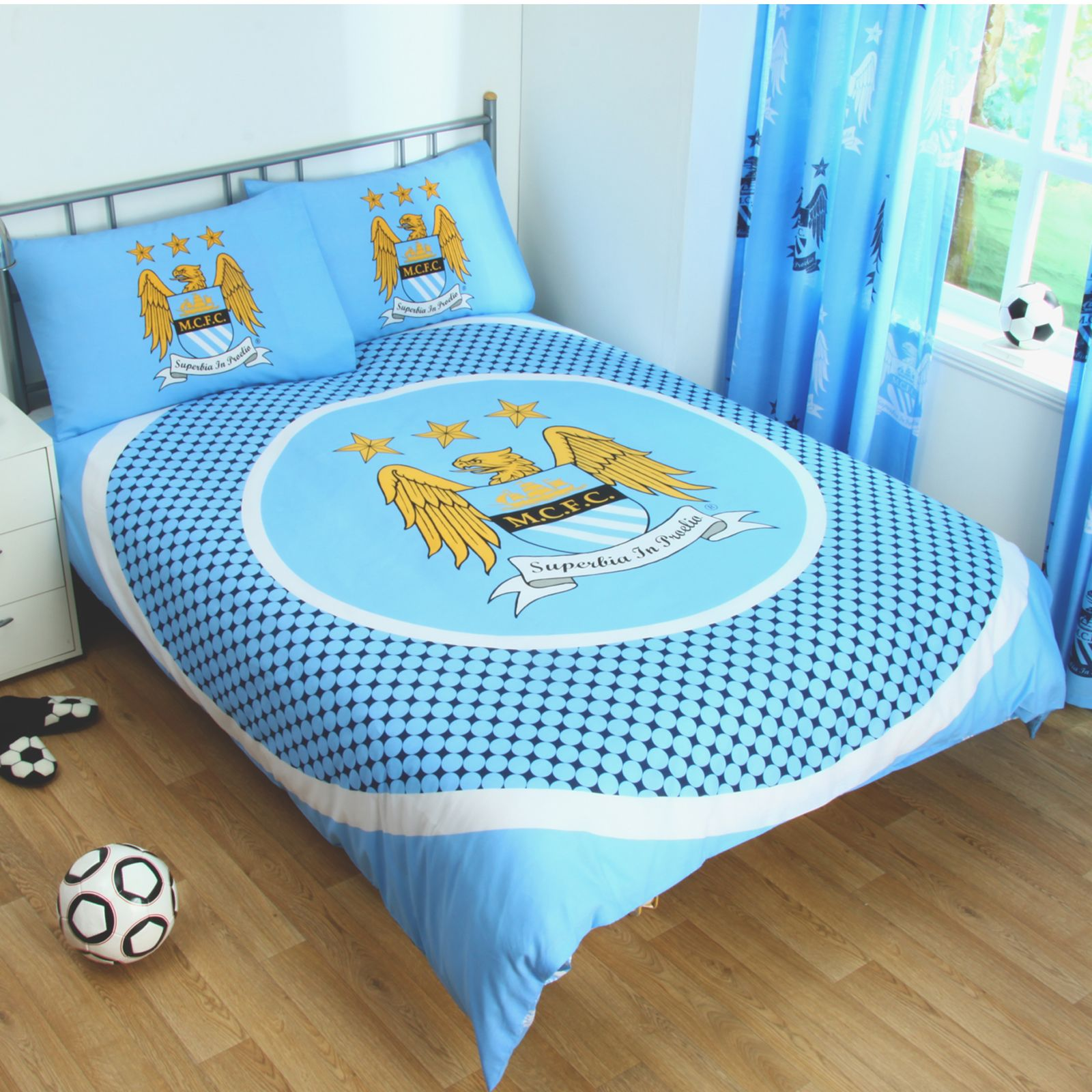 Knight Rider Bettwäsche Manchester City Duvet Cover Sets Crest Blue Football